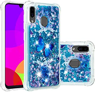 Galaxy A30 Case, Galaxy A20 Case, Folice[Liquid Series] Cute Pattern Bling Liquid Glitter Shockproof Bumper Floating Quicksand Diamond Clear Soft TPU Case for Samsung Galaxy A20 / A30 (Blue Butterfly)