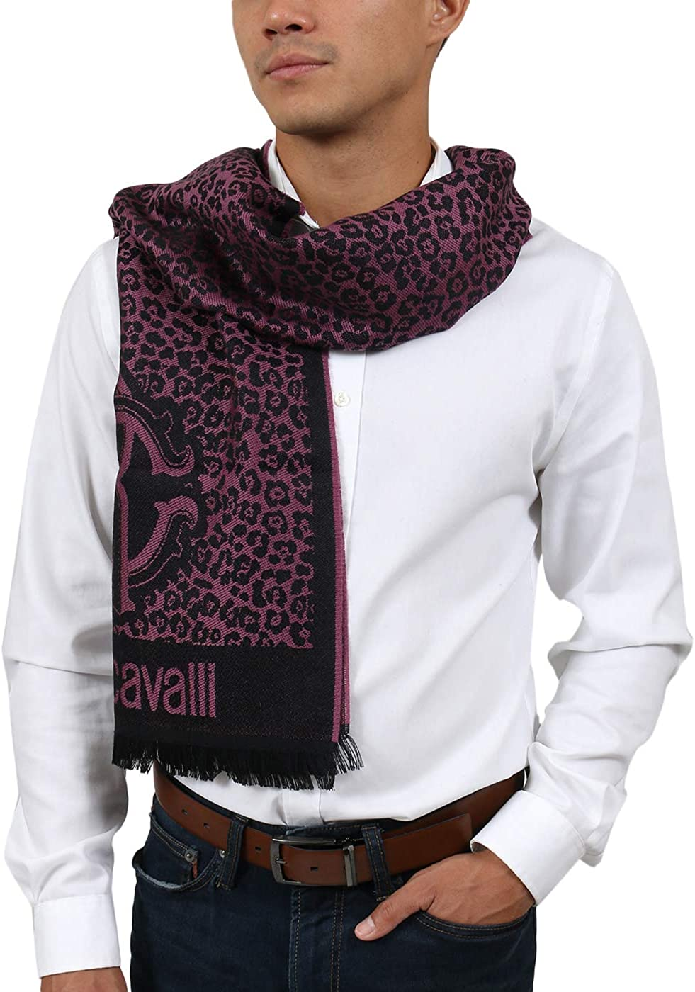 Roberto Cavalli ESZ056 03000 Purple Wool Blend Leopard Print Mens Scarf for mens