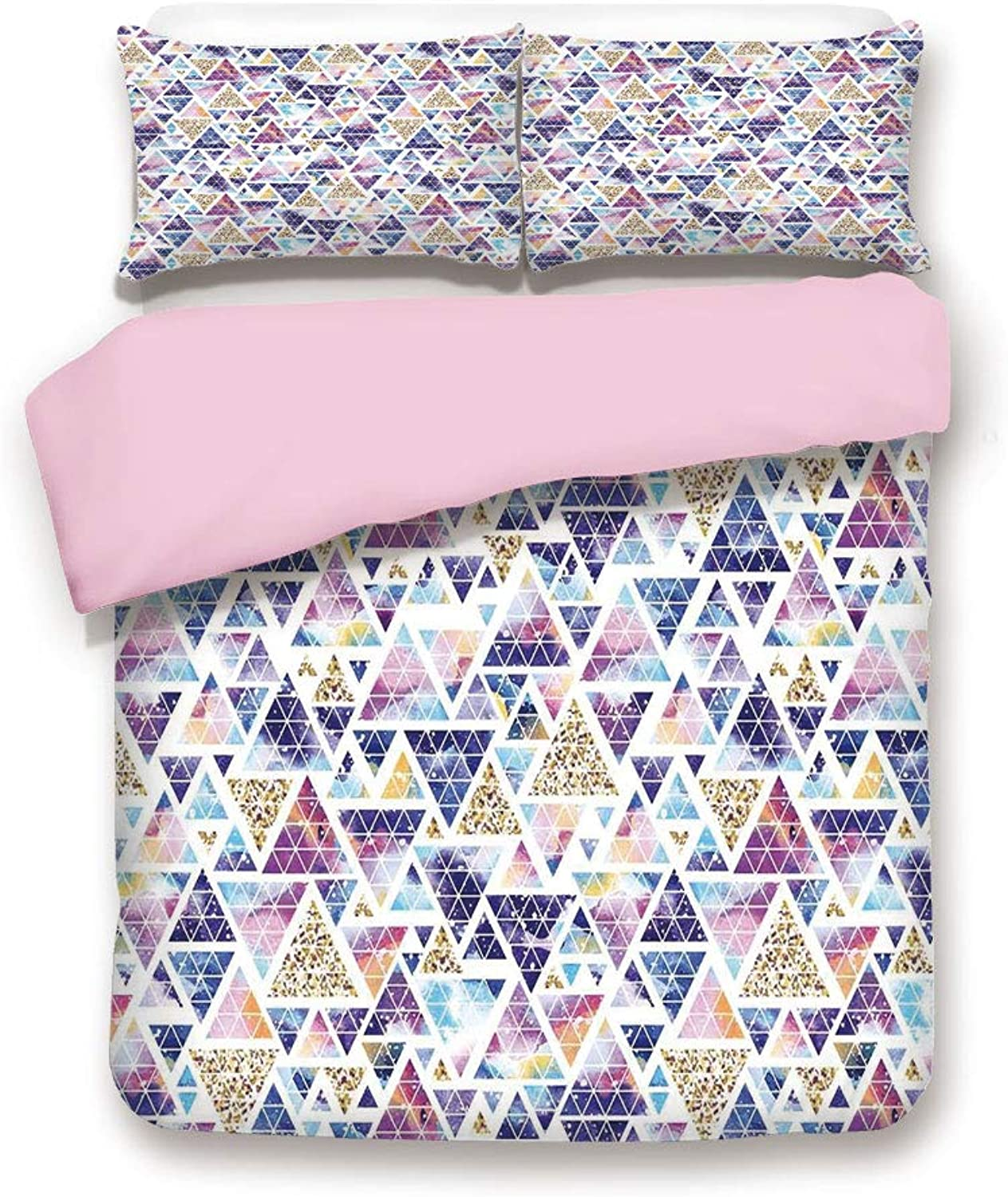 Pink Duvet Cover Set/Full Size/Abstract Triangular Space Design Vintage Universe Pattern Art Neon Like colors/Decorative 3 Piece Bedding Set with 2 Pillow Sham/Best Gift for Girls Women/Multicolor