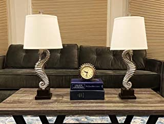 Urbanest Set of 2 Seahorse Table Lamps, Antique Silver