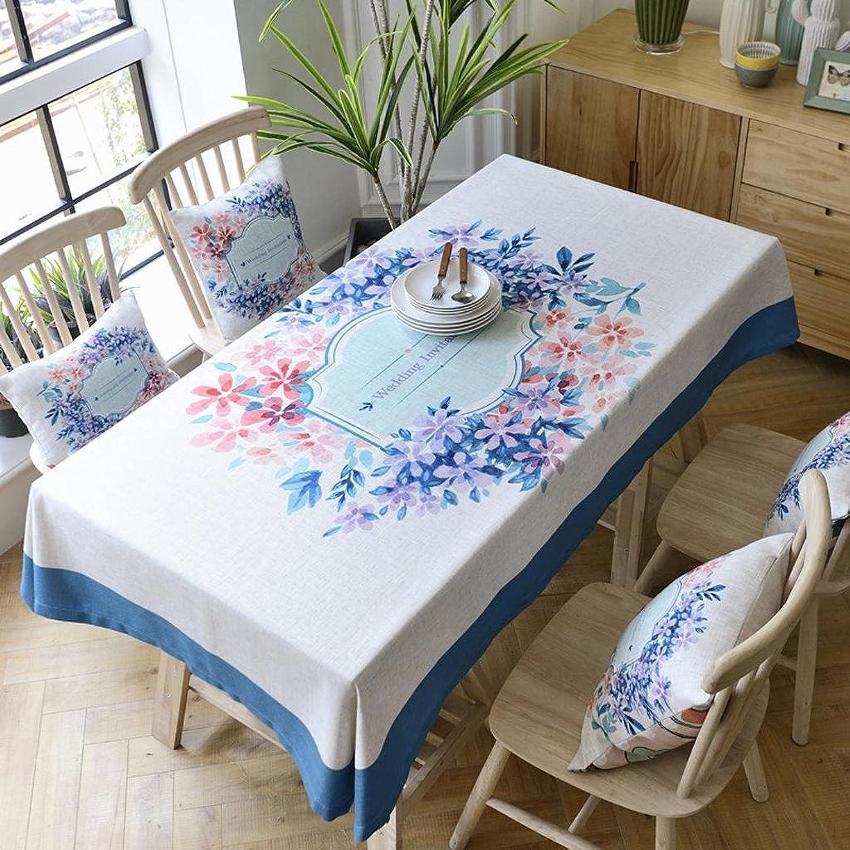 Tischdecken Baumwolle Leinen pastoralen frischen blueeen Rand Tuch Esstisch Tischdecke Kaffee Tischdecke , 130220cm