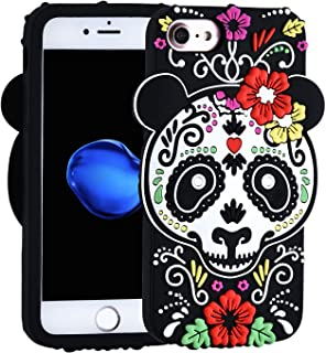 TopSZ Gost Panda Case for iPhone SE 5 5S 5C,Cute Silicone 3D Cartoon Cool Kawaii Animal Floral Graffiti Cover,Flower Soft Rubble Skin,Funny Unique Character Cases for Kids Girls Teens boy Guys(iPhone5