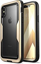 i-Blason Magma Series Case for iPhone X / iPhone Xs, [Heavy Duty Protection] [Clear Back] Shock Reduction/Full Body Bumper Case with Built-in Screen Protector (Gold)