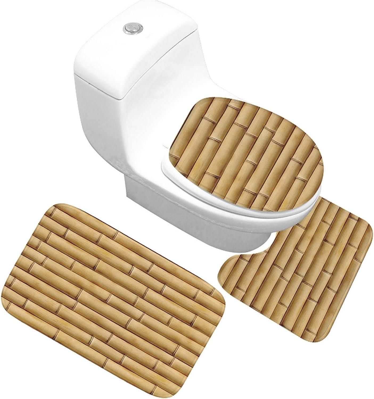 Yjmgrowing Waschraum-Zubehör 3 STÜCKE Novel Holzbrett Druck Badezimmer Teppich Set, Rutschfeste Badematte Decor (Badematte + Sockel Matte + Toilettensitzabdeckung Matte) Familiennutzung B07H9B271F