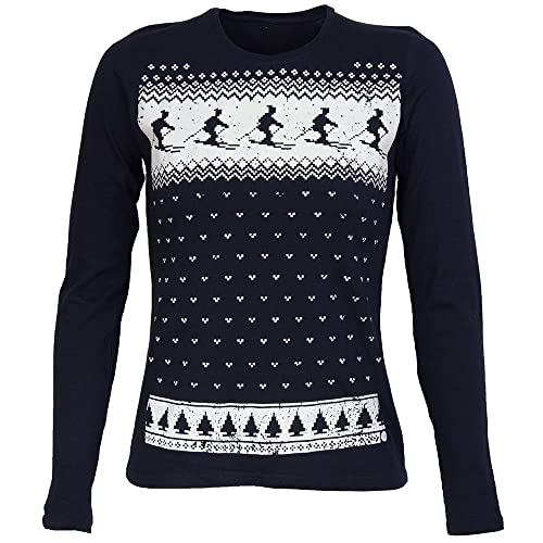 Jolly Clothing Womens Retro Glow In The Dark Ski Long Sleeve Top - Navy f7ba9db65