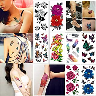 COKOHAPPY Temporary Tattoos for Women Teens Girls - 8 Sheets Fake Tattoos Flower Sticker for Arm Shoulders Waist Chest & Back - Night Show Girls Flash Tattoos Waterproof Large Transfers