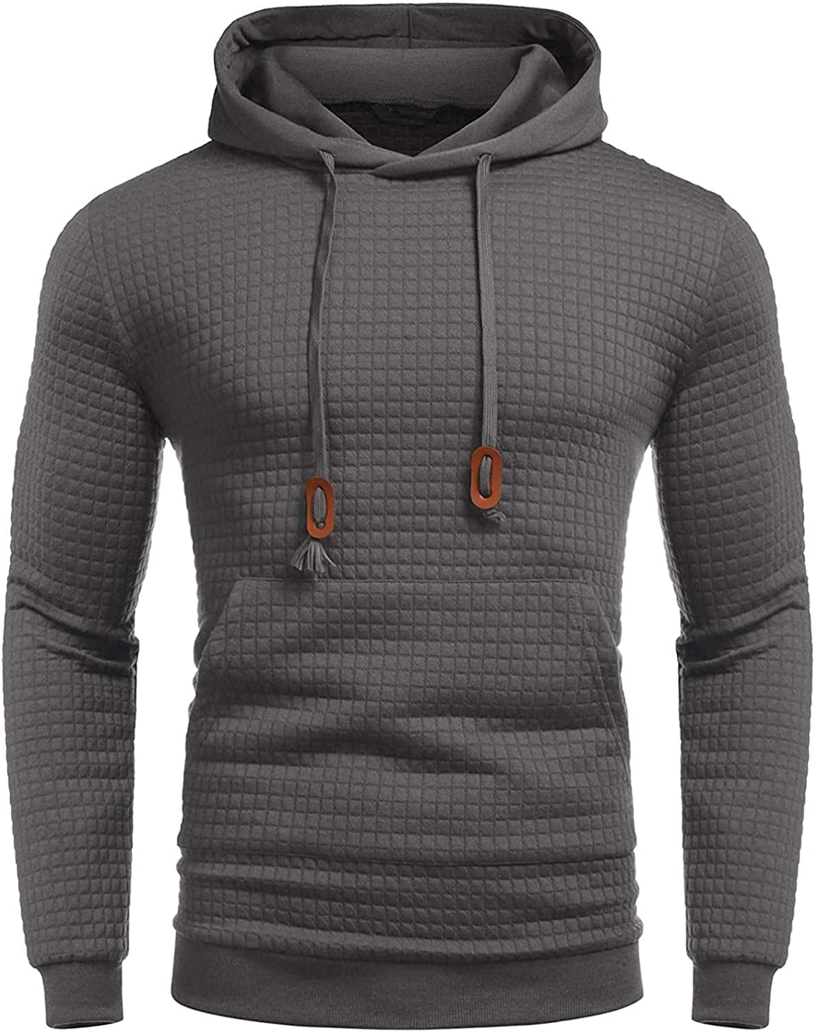Men's Hoodies Pullover, Mens Autumn Winter Casual Long Sleeve Solid Sports Outwear Hooded Square Sweatshirts Pockets
