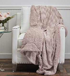 Best The Connecticut Home Company Faux Fur with Sherpa Reversible Throw Blanket, Many Colors, Super Soft Large Plush Luxury Blankets, Warm Hypoallergenic Washable Throws for Couch or Bed, 65x50, Dusty Rose Review