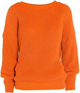 Janisramone Womens Ladies New Cable Knitted Basic Casual Baggy Jumper Cosy Winter Warm Sweater Pullover Top