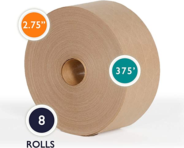 2 75 X 375 Ft Reinforced Gummed Kraft Paper Tape 2 75 Inch X 375 Ft Water Activated Ultra Sticky Kraft Packaging Case Of 8 Rolls