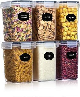 Aitsite Boîte de Conservation Alimentaire 6 Pcs, Boîtes de Rangement pour Céréales sans BPA Récipient de Stockage en Plast...