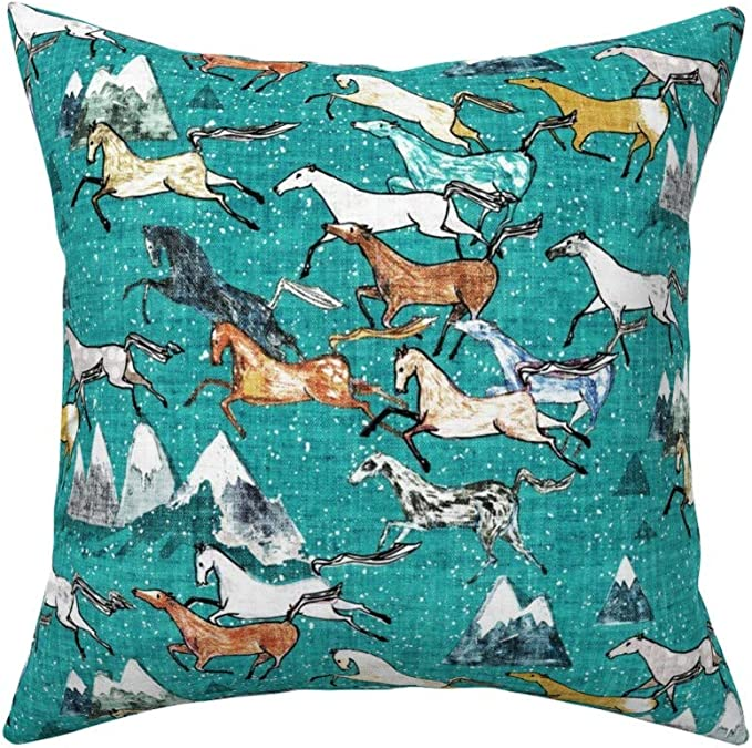Roostery Throw Pillow Wild Horse Mountain Blue Western Southwest Children Print Linen Cotton Canvas Knife Edge Accent Pillow 18in X 18in With Insert Home Kitchen