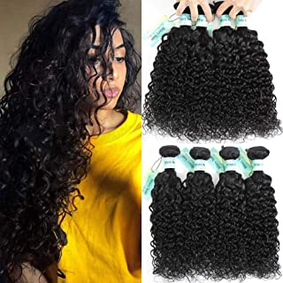 Bfary Hair Peruvian Virgin Human Water Wave 4 Bundles Deals(20 22 24 26, Natural Color) 9A 100% Unprocessed Water Wave Hair Extension Weft, Peruvian Cheap Hair for Black Women Wet and Wavy Curly Hair