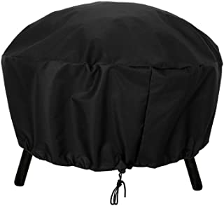 Suwimut Round Outdoor Fire Pit Cover, 36 Inches Waterproof 600D Heavy Duty Round Firepit Cover with Thick PVC Coating and ...