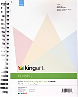 "KINGART Drawing Paper Pad, Perforated, Side Wire Bound, 70 LBS. (110G), 9"" X 12"", 75 Sheets (Set of 2)"