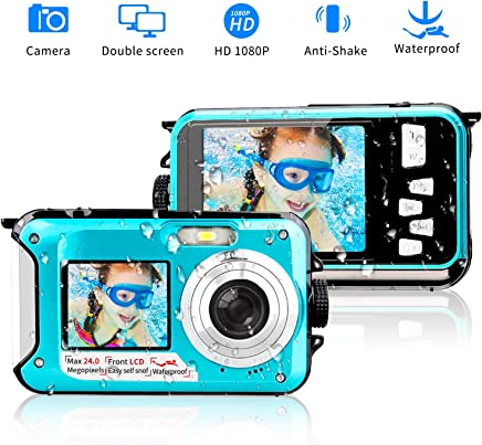 Camara Acuatica 1080P Camara acuatica Sumergible Full HD Grabadora de Video de 24 MP Videocámara Selfie Cámara en Pantalla Dual Grabación DV camaras acuaticas
