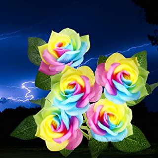 Solar Garden Lights - Upgraded Outdoor Solar Lights with 5 Rose Flowers, Waterproof Solar Decorative Lights for Garden, Ba...