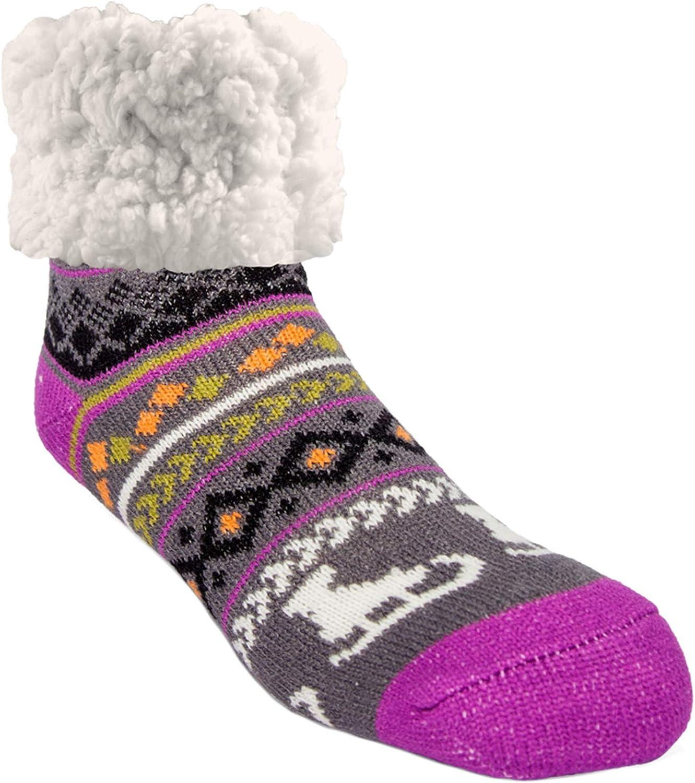 Pudus Cozy Holiday Winter Slipper Socks Women & Men w Non-Slip Grippers Faux Fur Sherpa