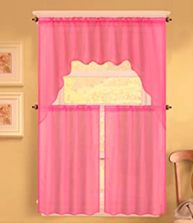 GorgeousHomeLinen (K66) 3 Piece Voile Rod Pocket Window Kitchen Sheer Curtain Set 2 Tier Panels & 1 Swag Valance, Various Solid Colors (HOT PINK)