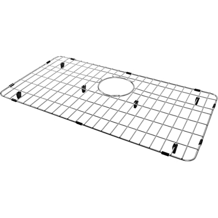 LQS Stainless Steel Kitchen Sink Bottom Grid and Sink Protector, Protective Sink Grid 26 x 14 Inches with Rear Drain for Single Sink Bowl