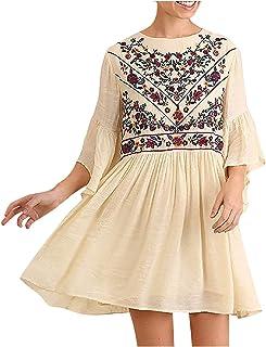 SicongHT Sommer Kleid Damen Kleider Hemdkleid für Frauen Casual Sommer Lose Kurzarm Blumenstickerei Vintage Sommerkleid