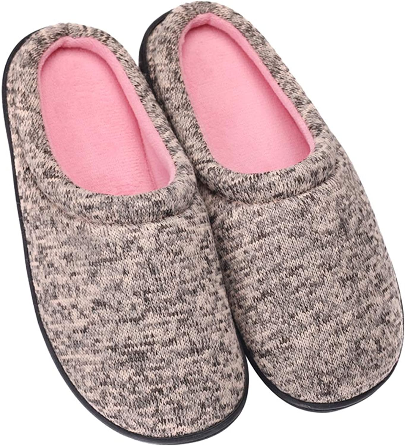 Beatific Bee Women's House Slippers Slip-on Knitted Upper Coral Fleece Lining Home shoes