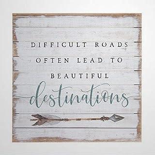Motivational Quote Difficult roads often lead to beautiful destinations Family Wall Decor Farmhouse Decor