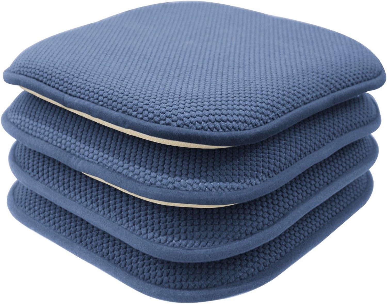 GoodGram 4 Pack Non Slip Honeycomb Premium Comfort Memory Foam Chair Pads Cushions - Assorted colors (bluee)