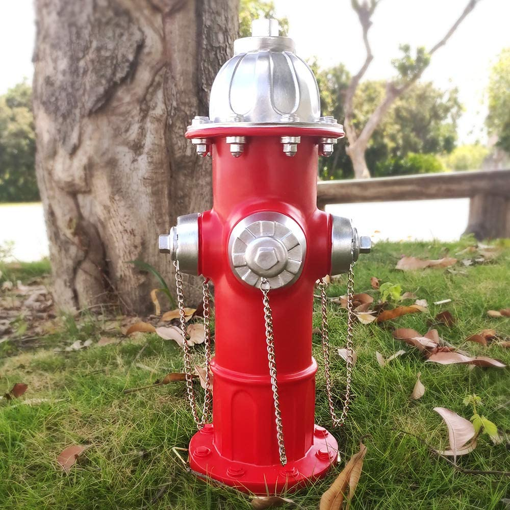 Dog Fire Hydrant Puppy Statue Puppy Pee Post Gift for Fireman, Fire Hydrant for Dog Full Color, Large Fire Hydrant Garden Décor Statue Dog's Second Best Friend (14