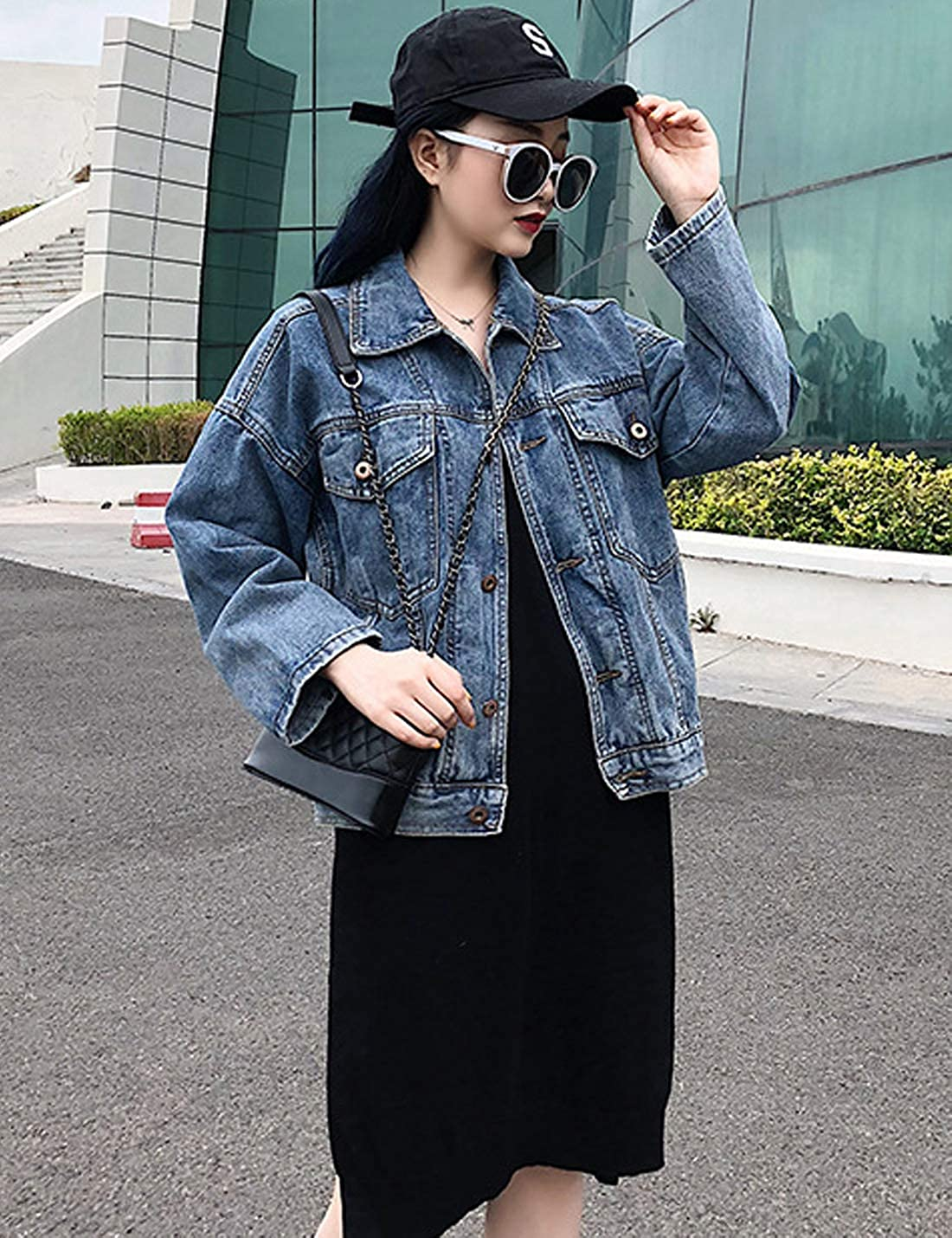 D.B.M Women's Fashion Lapel Loose Long-Sleeve Button Denim Jacket with Pocket