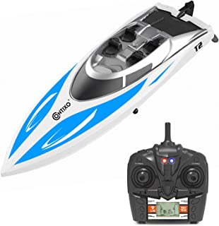 Contixo T2 RC Remote Control Racing Sport Boat Speedboat | Swimming Pool Toy Ship, Lakes, Rivers, Recreational Hobby - Blue
