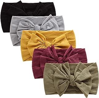 BQUBO 5 Pack Baby Girl Headbands Turban Bow Nylon Headband for Baby Elastic Knotted Headbands Head Wraps