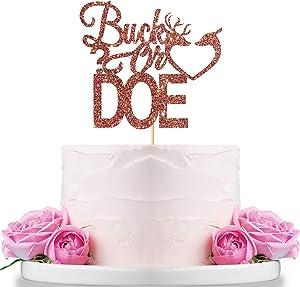 WeBenison Buck or Doe Cake Topper Boy or Girl Cake Topper / Baby Shower Party Supplies Decor Gender Reveal Party Decoration Rose Gold Glitter
