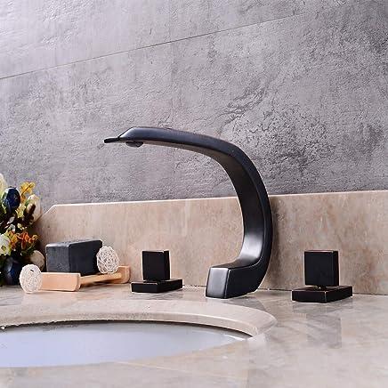 Fire wolf Bathroom faucet:Contemporary Widespread Widespread Ceramic Valve Three Handles Three Holes Oil-Rubbed Bronze, Bathroom Sink Faucet