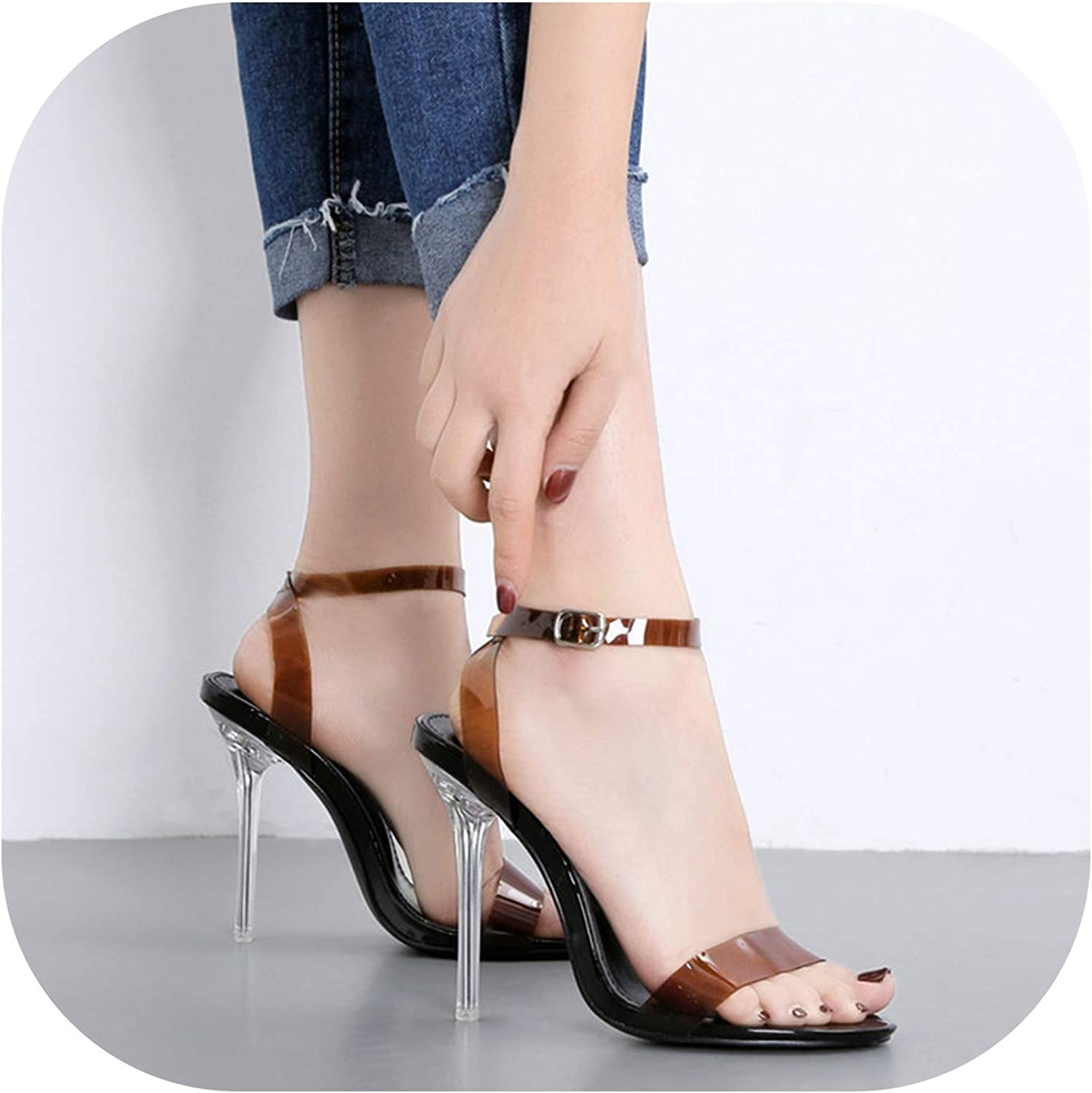 Clear Heeled Thick high Heels Sandals Ankle Strap Transparent PVC shoes