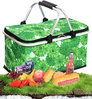 Cocobuy Collapsible Insulated Picnic Bag Grocery Shopping Basket Market Tote Carry Basket Folding Bag Basket for Family, Vacations, Parties, Travel, Party, Beach, Picnics,Everyday Meal (Green)