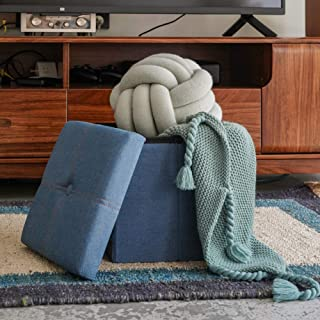 Lihio Folding Storage Ottoman Cube Foot Rest Stool Storage Seat Foldable Storage Boxes Padded with Memory Foam Lid Sofa Bed for Space Saving 11.8x11.8x11.8 Inch,Denim Blue