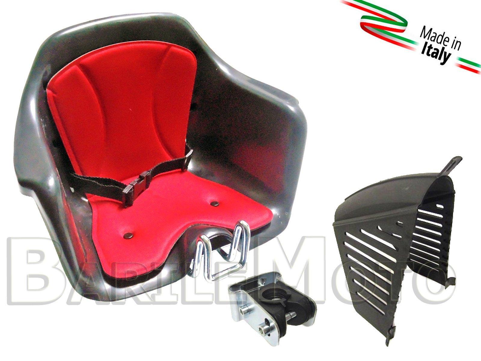 Silla portabebés para manillares de bicicleta + Protección HTP Milù, negro y rojo: Amazon.es: Deportes y aire libre