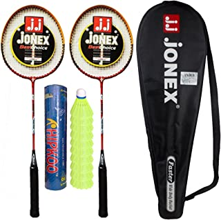 HIPKOO Jonex Faster Badminton Set with 2 Rackets and 10 Plastic Shuttlecocks Badminton Kit @Hipkoo