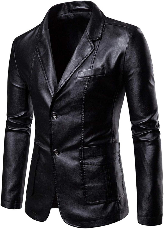 Men's Button PU Pleather Jackets Stylish Slim Fit Blazer Business Leather Coats Lambskin Casual Winter Suit Outwear (Black,3X-Large)