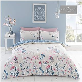 Gaveno Cavailia Floral Duvet Cover Quilt Set with Pillow Case, Reversible, Poly Cotton, Emma Natural, Double Bed Size, Pol...