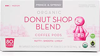 Prince & Spring Organic Donut Shop Coffee Pods 80Count Single Serves