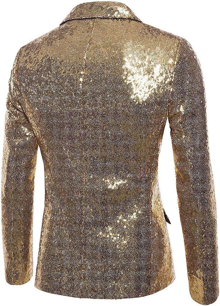 MODOQO Men's Shiny Slim Fit Sport Blazer Jacket Tuxedo for Weeding Party Dinner