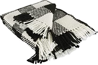 DII Organic Modern Varigated Acrylic Woven Throw, 50x60, Black & White Buffalo Check