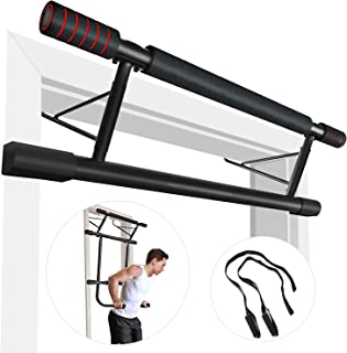 Pull Up Bar Doorway,Strength Training Chin Up Bars, 4 in 1 Doorway Trainer Exercise Bars,Fitness Chin-Up Frame Dips Bar & Power Ropes Ergonomic Grip Workout Trainer for Home Gym Exercise.IDEER LIFE