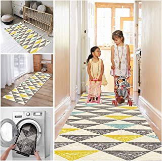 Runner Rug for Hallway Long Narrow Hall Staircase Kitchen Rugs, Triangular Pattern Entryway Carpet with Backing, Soft Dura...
