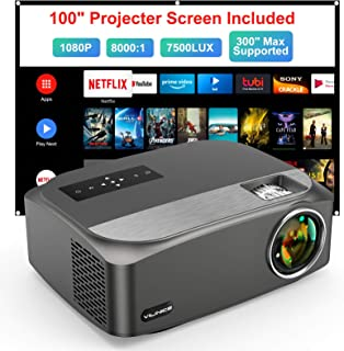 "Video Projector Native 1080P/300"" Supported, VILINICE Outdoor Projector with 100""Movie Projector Screen, 100,000h Lamp Lif..."