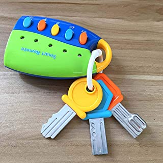 Teaffiddyy Musical Car Key Keychain Toy Blue Remote Car Voices Kids Pretend Play Education Toy, Funky Toy Keys for Toddlers and Babies