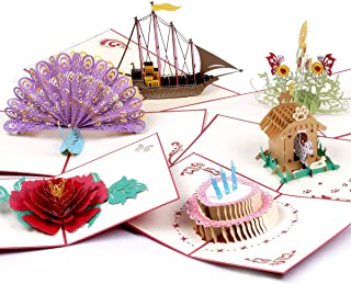 3D Pop Up Birthday Greeting Cards 6 Pack With Envelopes Boat