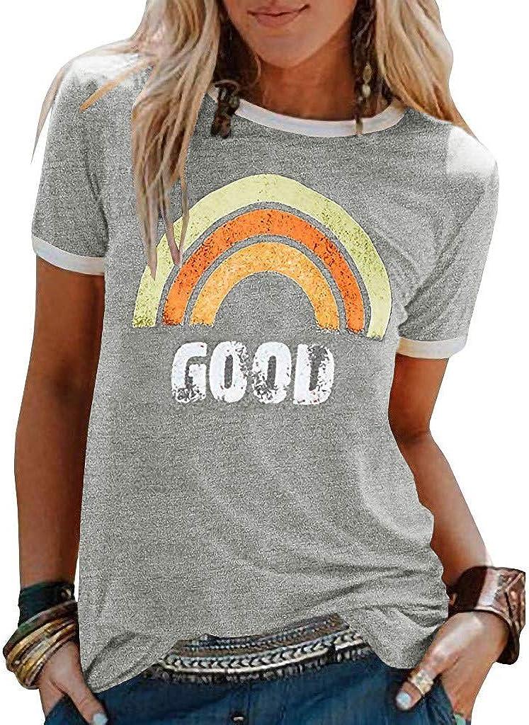 KYLEON Women's T Max Department store 49% OFF Shirts Casual Rainbow Good Tops Sh Summer Print